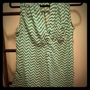 Teal and white tank
